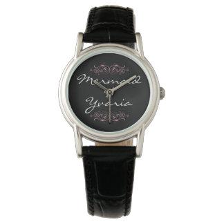 Yvariaの人魚-腕時計-ピンクおよび黒 腕時計
