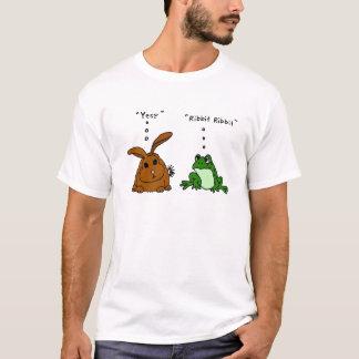 YY-おもしろいなウサギおよびカエルの漫画 Tシャツ