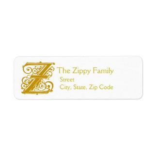 """Zのモノグラムの""""金ゴールドのレース""""のデザインの住所Lables ラベル"""