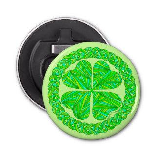 Zの幸運なケルト族のシャムロック4の葉のクローバーのおもしろいの緑 栓抜き