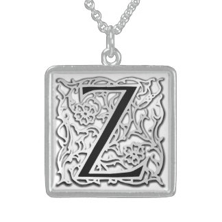 """Zの""""銀のBesque""""の最初のモノグラムのネックレス スターリングシルバーネックレス"""