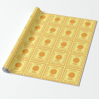 Z SOL日曜日の宇宙のギークの黄色およびオレンジ星 ラッピングペーパー