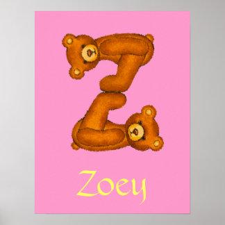Z~TeddyくまのアルファベットのLetter~Customの最初の名前 ポスター