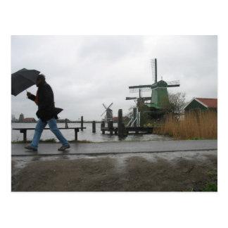 Zaanse Schansの風車の郵便はがきの風及び雨 ポストカード