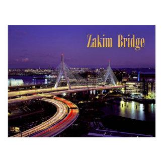 Zakim橋、夜のボストン ポストカード