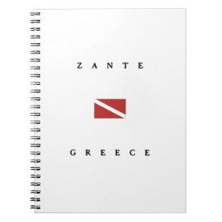 Zanteギリシャのスキューバ飛び込みの旗 ノートブック
