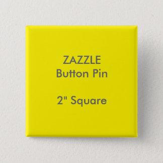 """ZAZZLEのカスタム2""""正方形ボタンPinの黄色 缶バッジ"""