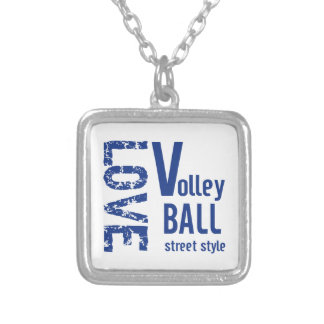 Zazzle愛バレーボールの通りのスタイルのネックレス シルバープレートネックレス