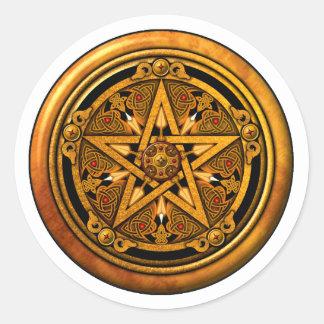 Zazzle -男らしい金ゴールドの星形五角形noback ラウンドシール