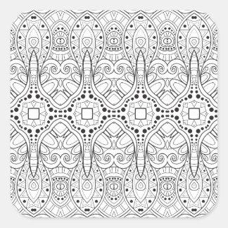 Zendoodleの種族のデザイン スクエアシール