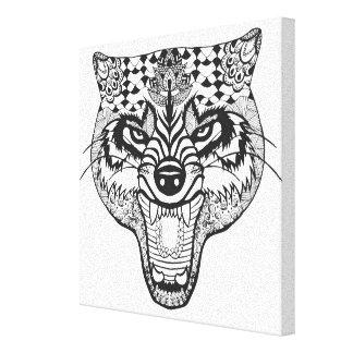 Zentangleはオオカミをインスパイア キャンバスプリント