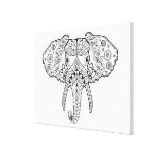 Zentangleは象をインスパイア キャンバスプリント