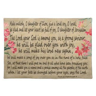 Zephaniah 3 Amarylisの花の聖なる書物、経典のランチョンマット ランチョンマット