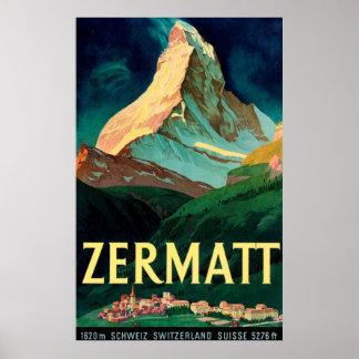 Zermattスイス連邦共和国マッターホルンのヴィンテージの芸術ポスター ポスター