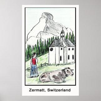 Zermatt、スイス連邦共和国 ポスター
