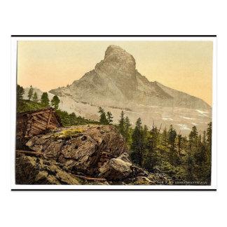 Zermatt、sの後のマッターホルンとの上部のStaffelalp、 ポストカード