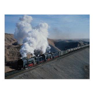 Zhongweiからの油の列車、中国の2 QJ ポストカード