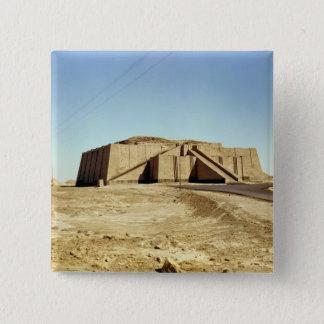 zigguratの北東正面、紀元前のc.2100 5.1cm 正方形バッジ