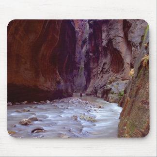 Zionの物語の川を通ってハイキングするZionの狭いところ マウスパッド