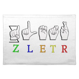 ZLETR一流FINGERSPELLEDの印ASL ランチョンマット