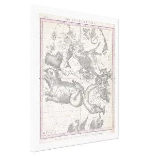 Zodiacalシンボルや象徴が付いている星座のMappe キャンバスプリント