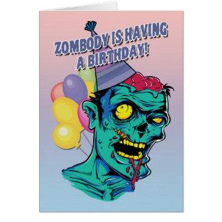 Zombodyに球が付いている誕生日のゾンビカードがあっています カード