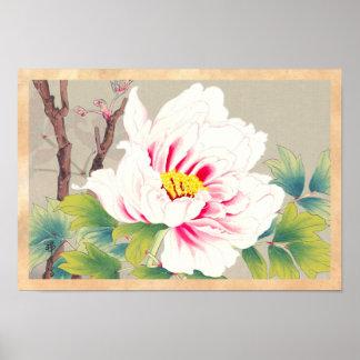 Zuigetsu Ikedaのピンクのツバキの日本の花の芸術 ポスター