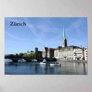 Zürichのリマト川の川 ポスター