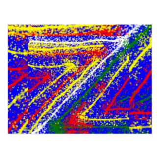 zzz ZAZZLINGの抽象美術: ロイヤルブルーの縞 ポストカード